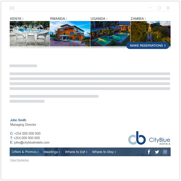 CityBlue Hotels - email marketing
