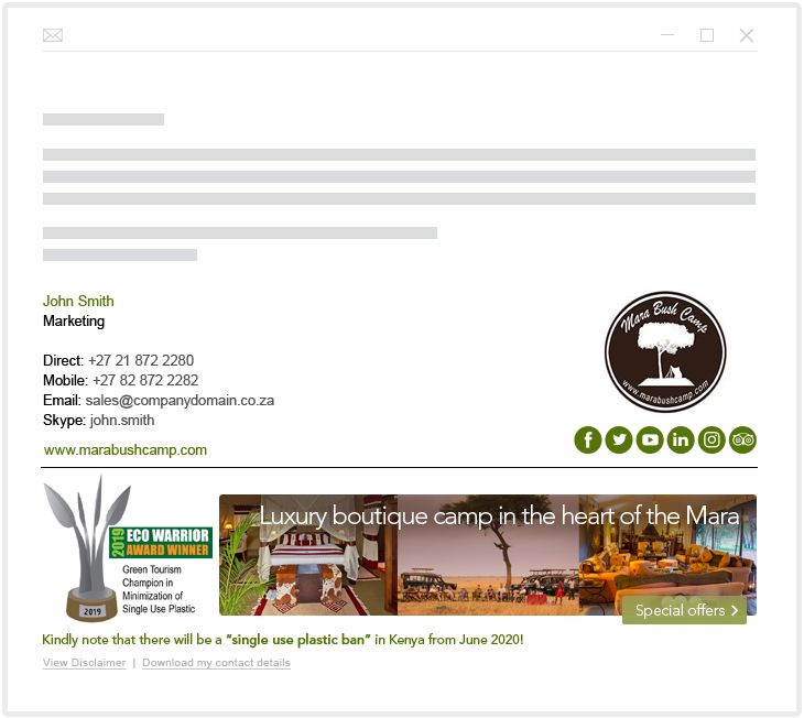 Mara Bush Camp - email marketing