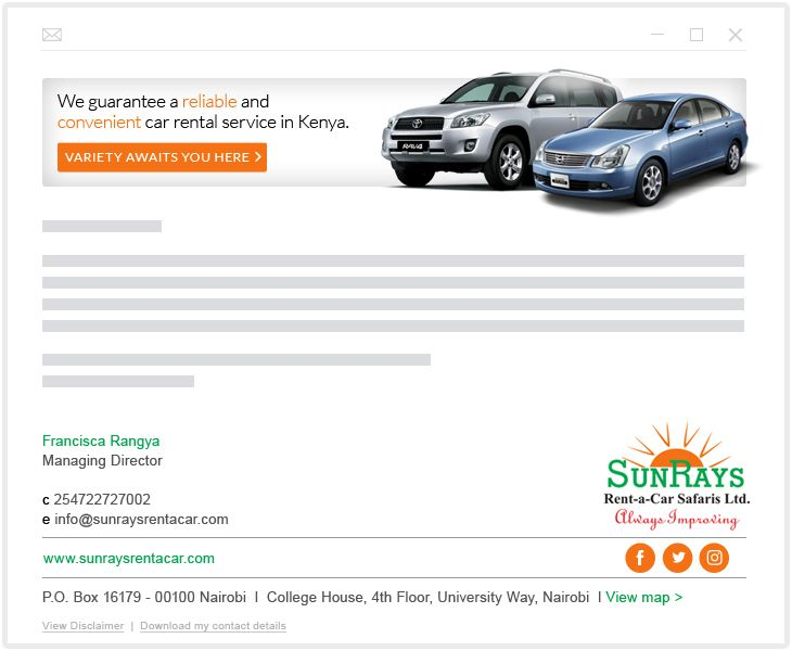 SunRays Rent-a- Car Safaris - email marketing and Google My Business - GMB